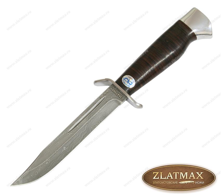 Нож Штрафбат (Дамаск ZDI-1016, Наборная кожа, Нержавеющая сталь, Алюминий) фото-01