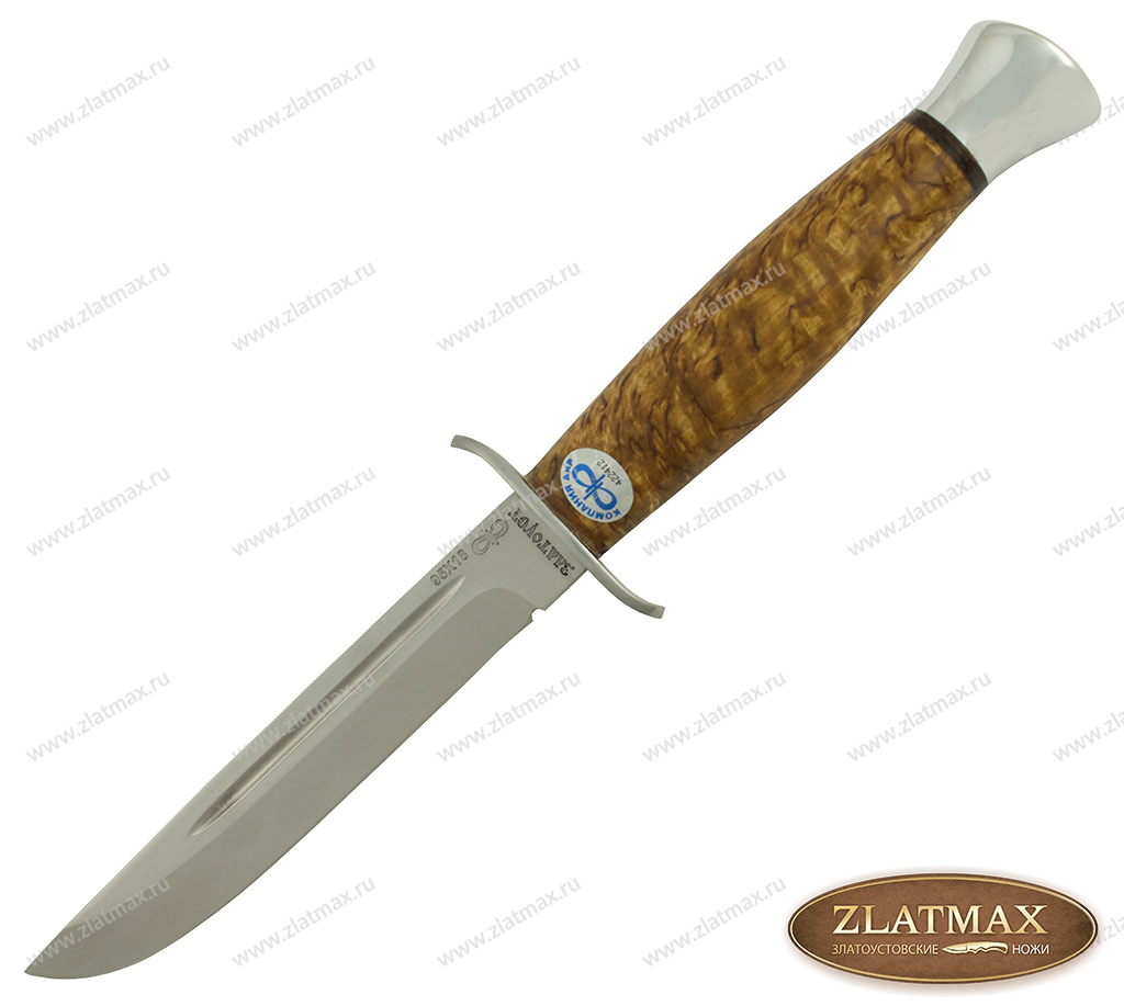 Нож Финка-2 (95Х18, Карельская берёза, Нержавеющая сталь, Алюминий) фото-01