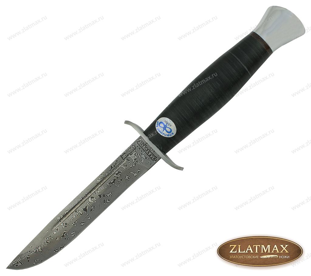 Нож Финка-2 (Дамаск ZD-0803, Наборная кожа, Нержавеющая сталь, Алюминий) фото 01