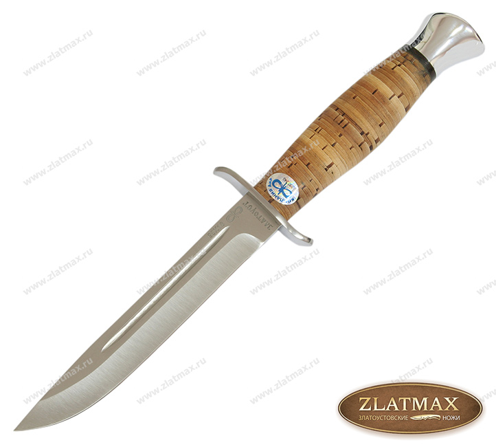 Нож Финка-2 (95Х18, Наборная береста, Нержавеющая сталь, Алюминий) фото 01