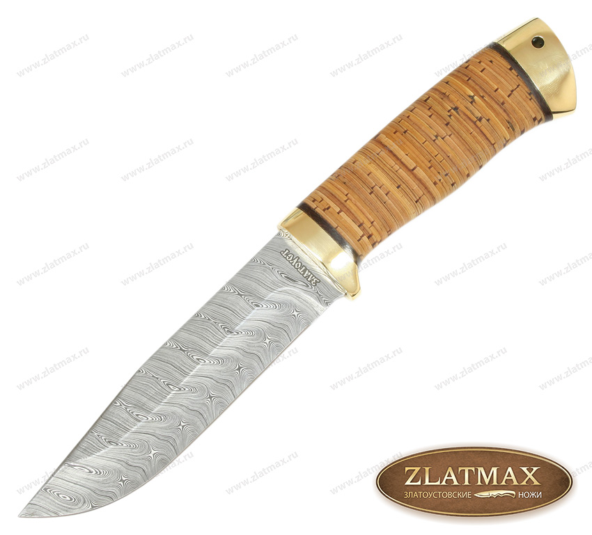 Нож Турист (Damasteel, Наборная береста, Латунь) фото 01
