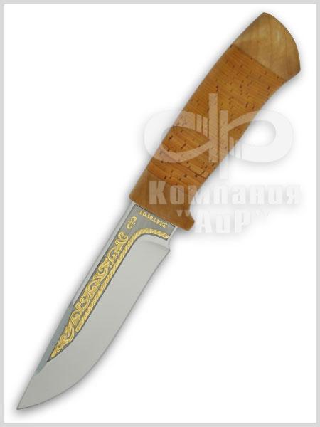 Нож Стрелец (95Х18, Наборная береста, Текстолит, Золочение рисунка на клинке) фото 01