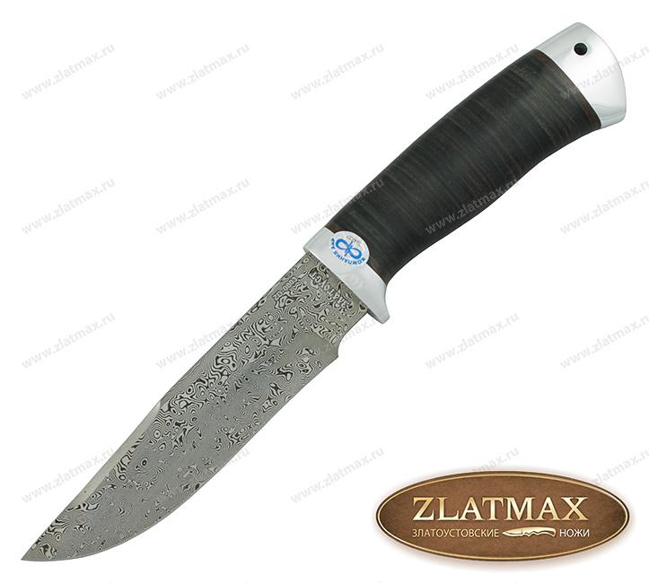 Нож Стрелец (Дамаск ZD-0803, Наборная кожа, Алюминий) фото-01