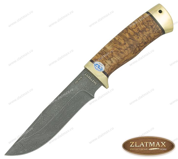 Нож Стрелец (Дамаск ZDI-1016, Карельская берёза, Латунь) фото-01