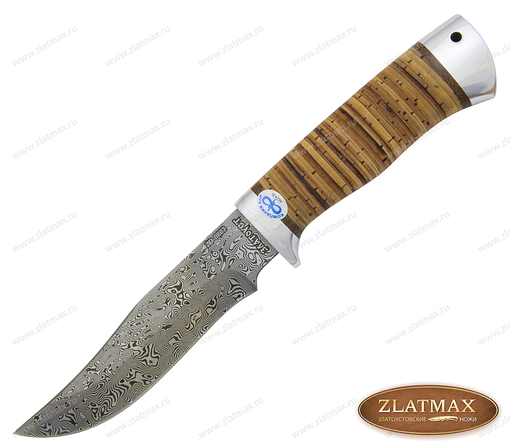 Нож Клычок-1 (Дамаск ZD-0803, Наборная береста, Алюминий) фото-01