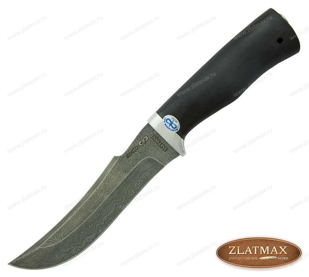 Нож Клык (Дамаск ZDI-1016, Граб, Алюминий, Золочение клинка) фото 01