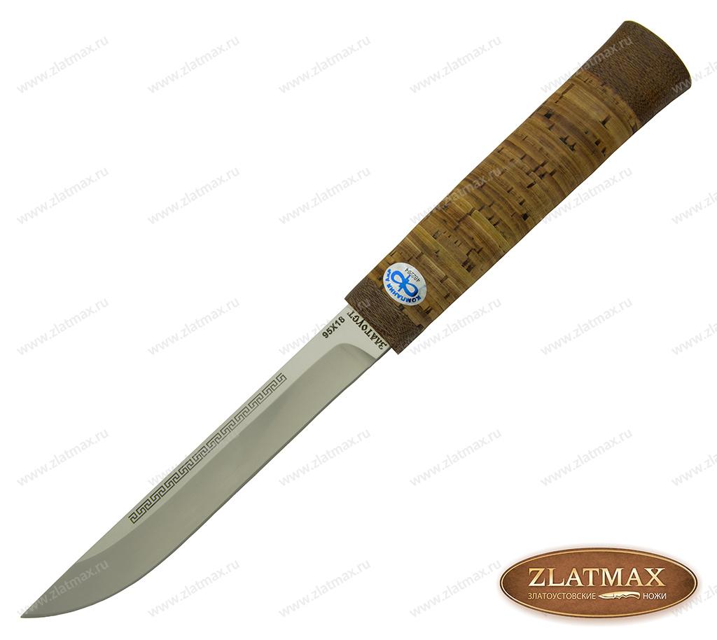 Нож Бурятский малый (95Х18, Наборная береста, Текстолит) фото 01