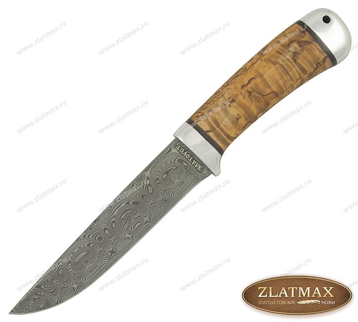 Нож Лиса (Damasteel, Карельская берёза, Алюминий) фото 01