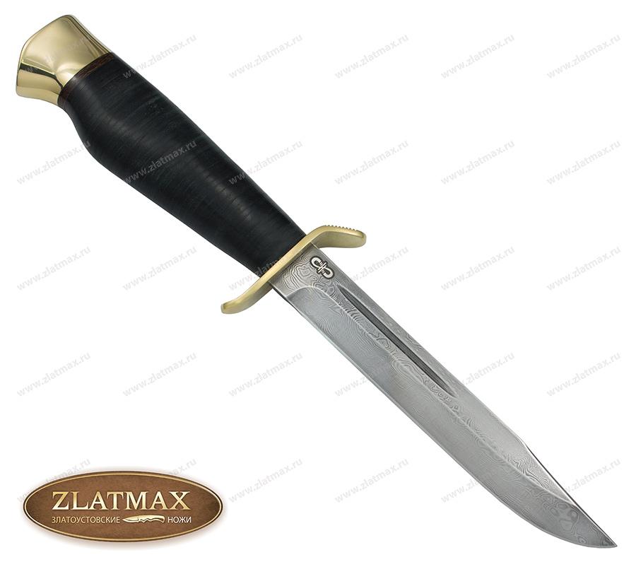 Нож Штрафбат (Дамаск ZDI-1016, Наборная кожа, Латунь) фото-01