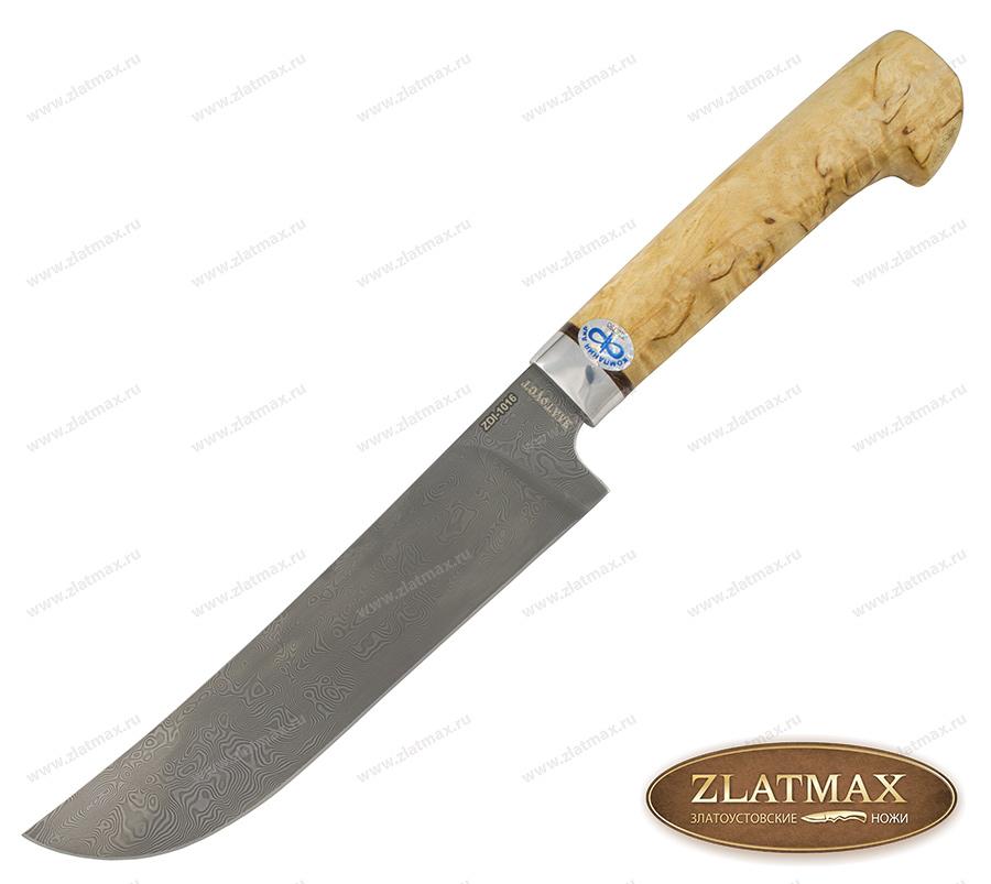 Нож Пчак (Дамаск ZDI-1016, Карельская берёза, Алюминий) фото 01