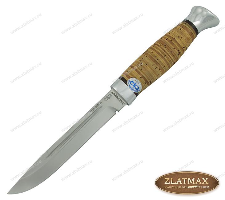 Нож Финка-3 (110Х18М-ШД, Наборная береста, Алюминий) фото-01