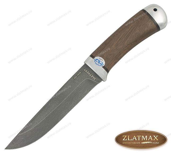 Нож Лиса (Дамаск ZDI-1016, Орех, Алюминий) фото-01