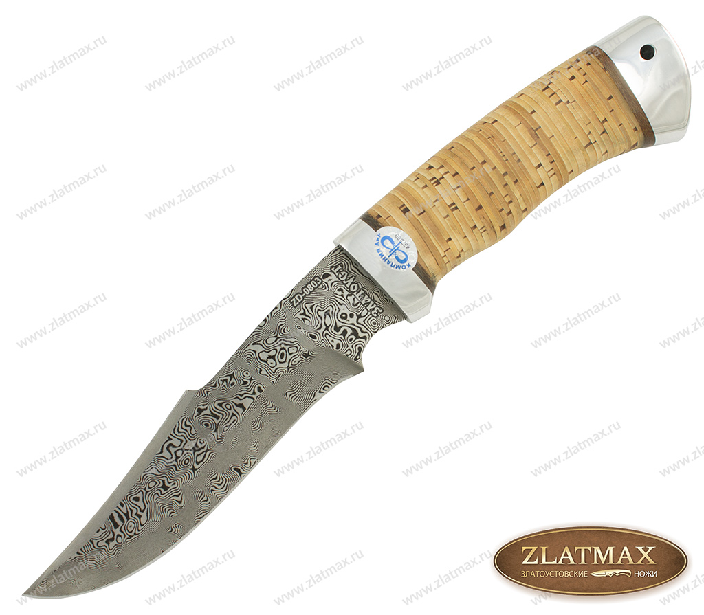 Нож Хазар (Дамаск ZD-0803, Наборная береста, Алюминий) фото-01