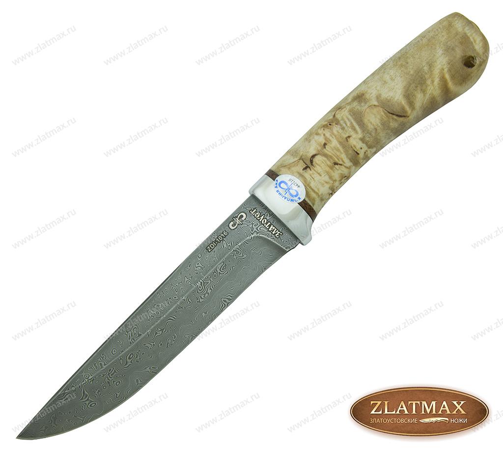 Нож подарочный Лиса  (Дамаск ZDI-1016, Карельская берёза, Алюминий) фото-01