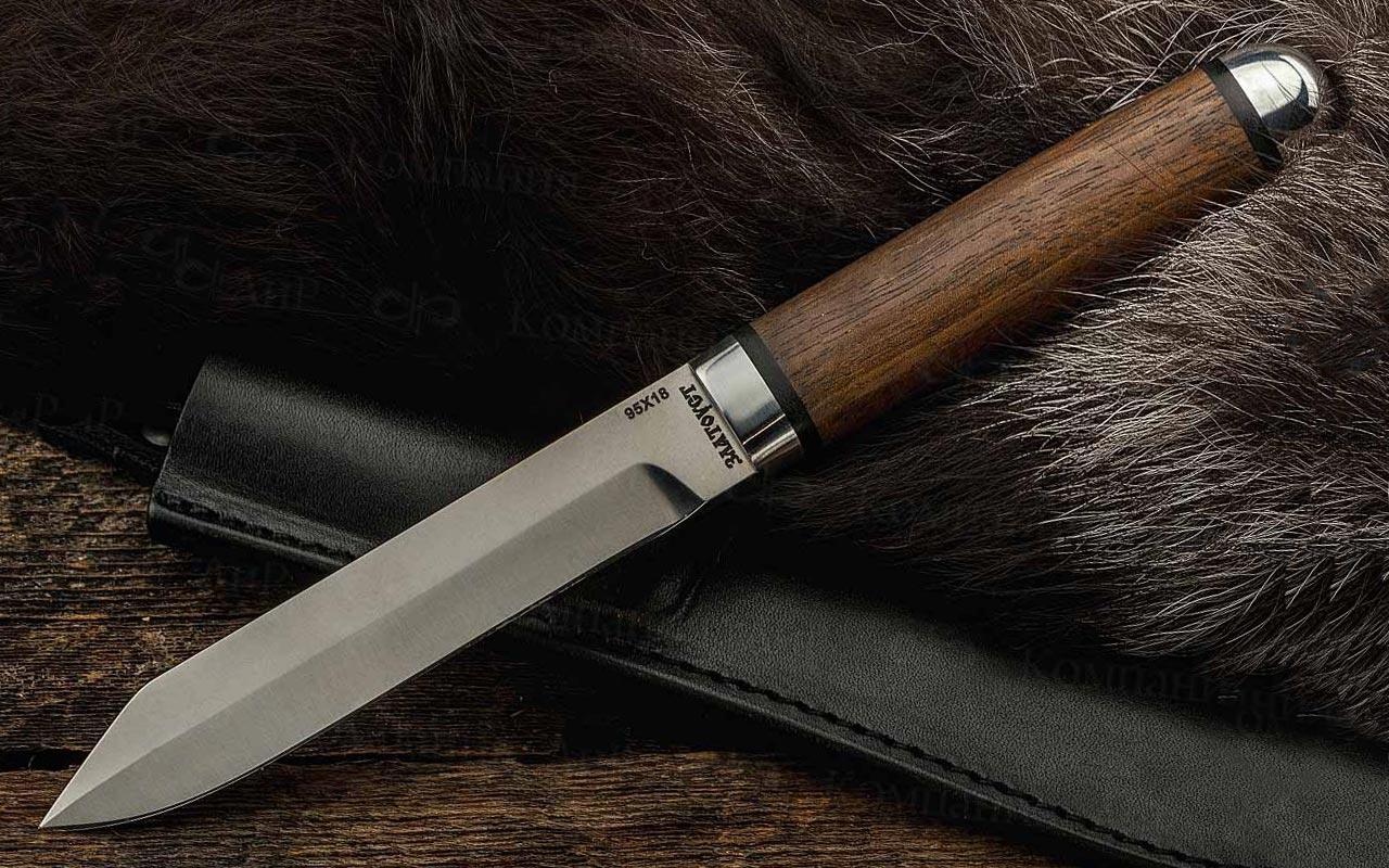 Нож Засапожный-2 (95Х18, Орех, Алюминий) фото 01