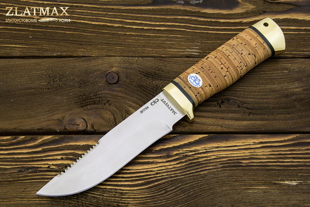 Нож Стрелец (ЭП-766, Наборная береста, Латунь) фото 01