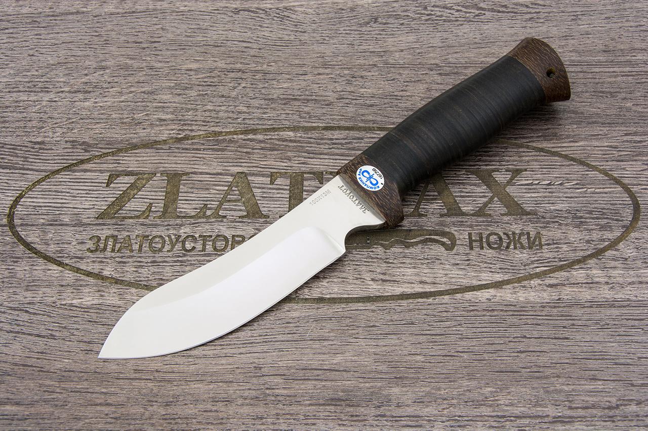 Нож Скинер-2 без рисовки (100Х13М, Наборная кожа, Текстолит) фото 01