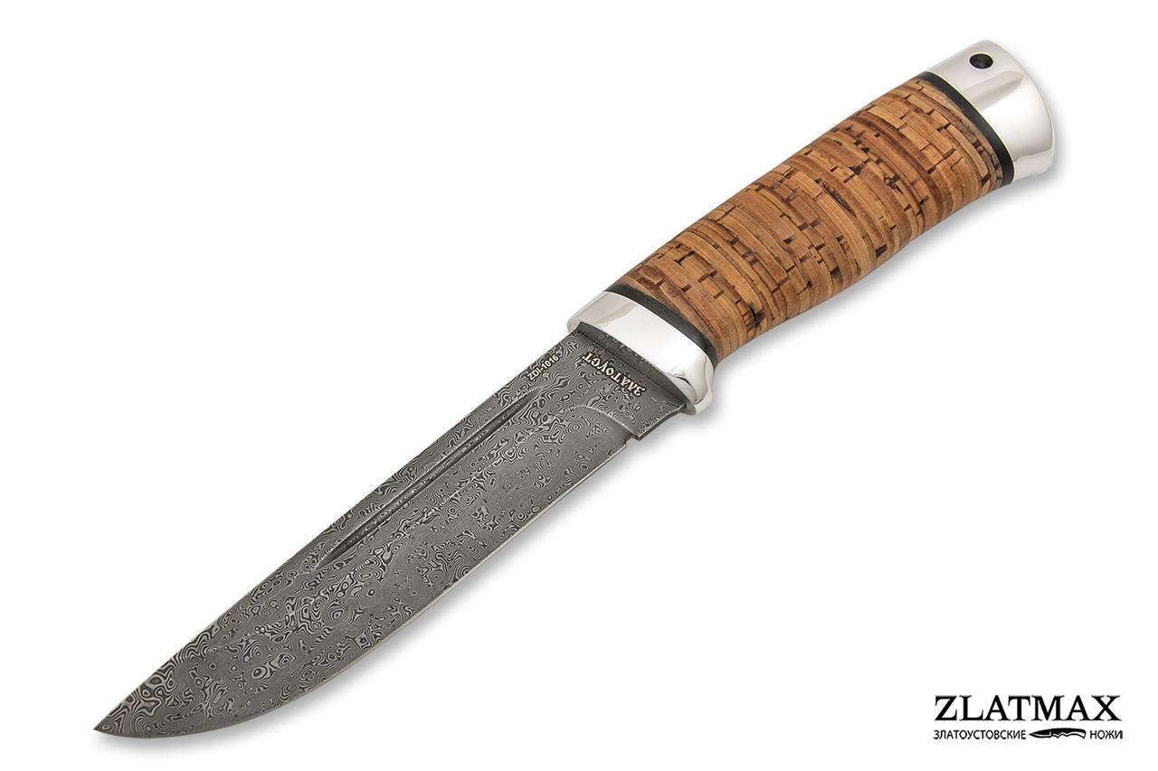 Нож Бекас (Дамаск ZDI-1016, Наборная береста, Алюминий) фото 01