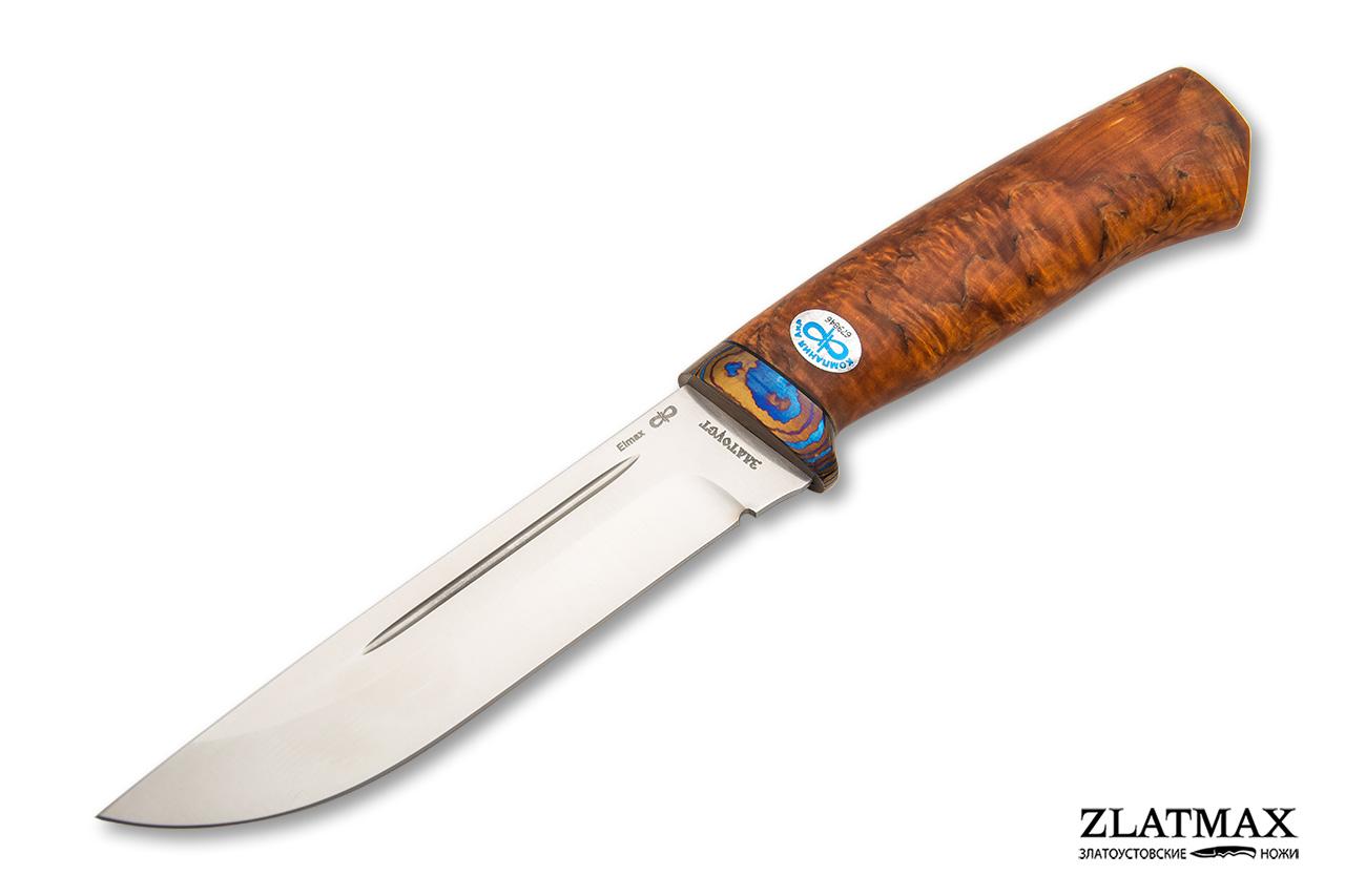 Нож Бекас (ELMAX, Стабилизированная карельская береза, ZlaTi) фото-01