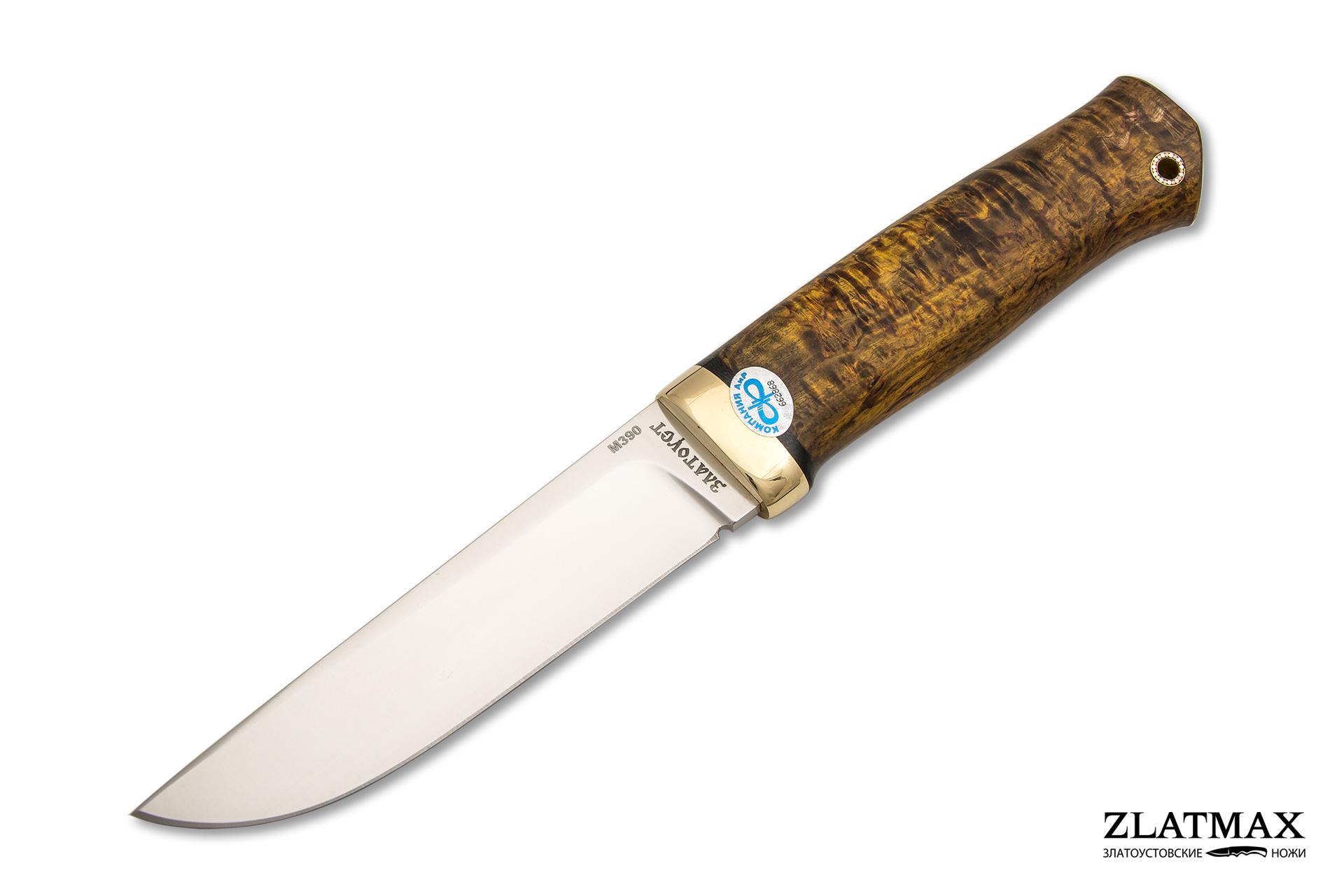 Нож Следопыт (М390, Стабилизированная древесина Жёлтая, Латунь) фото 01