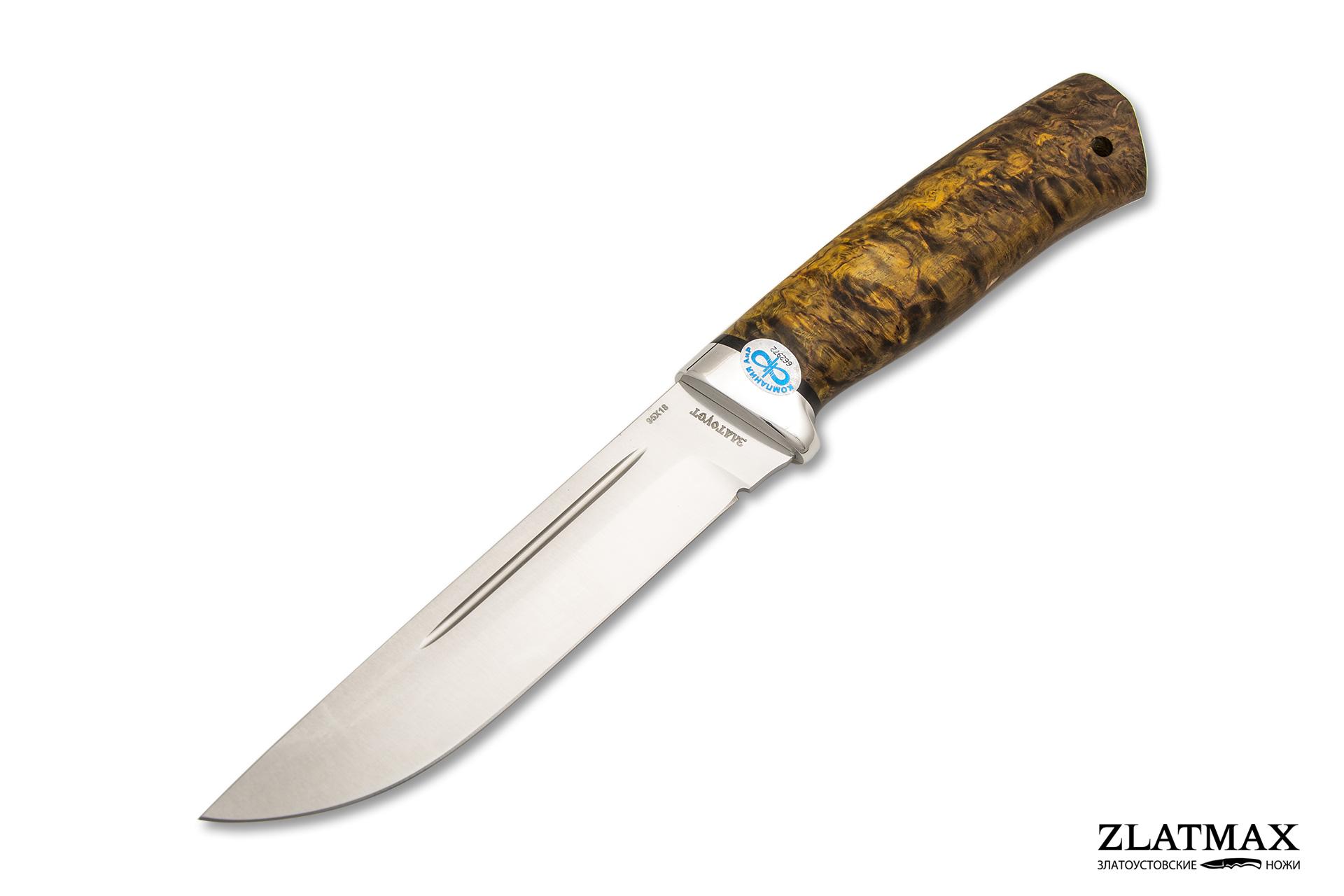 Нож Бекас (95Х18, Стабилизированная карельская береза, Алюминий) фото 01