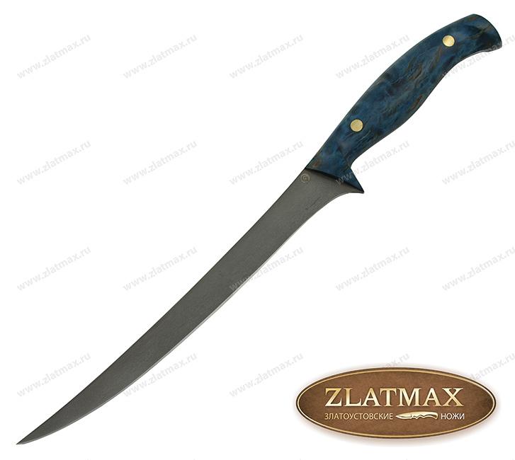 Нож K002 (Литой булат, Накладки стабилизированная карельская береза) фото 01