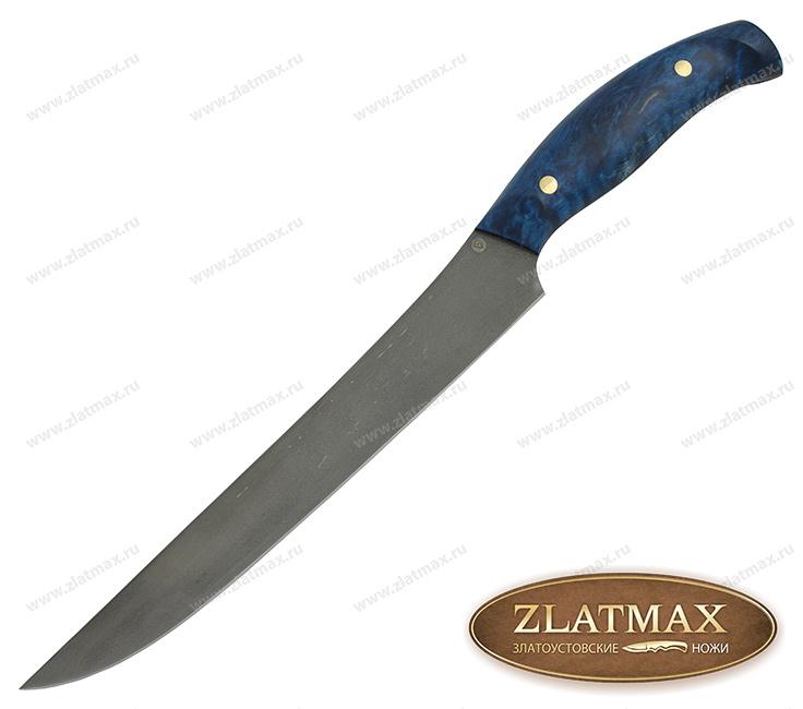 Нож Мясной К002 (Литой булат, Накладки стабилизированная карельская береза) фото 01