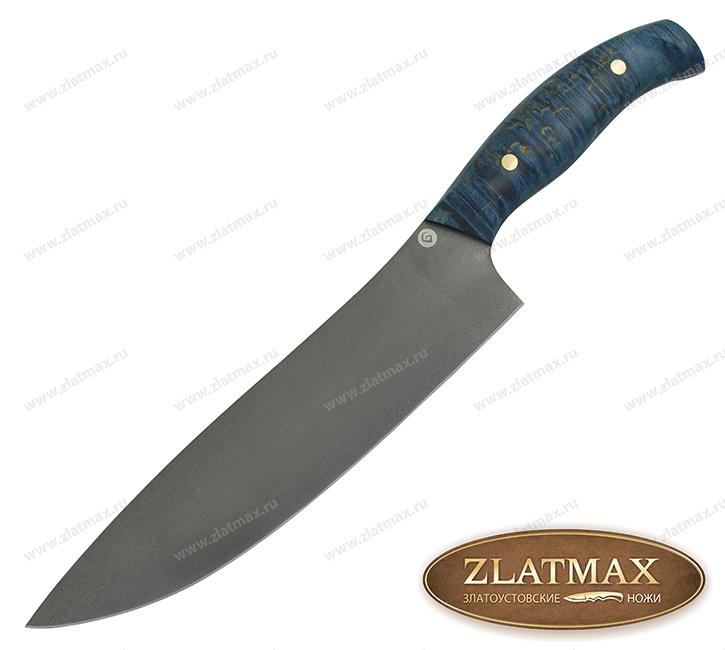 Нож K003 Шеф (Литой булат, Накладки стабилизированная карельская береза) фото 01