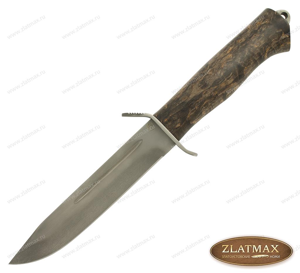 Нож T002К Разведчик (Литой булат, Стабилизированная карельская береза, Нержавеющая сталь) фото 01
