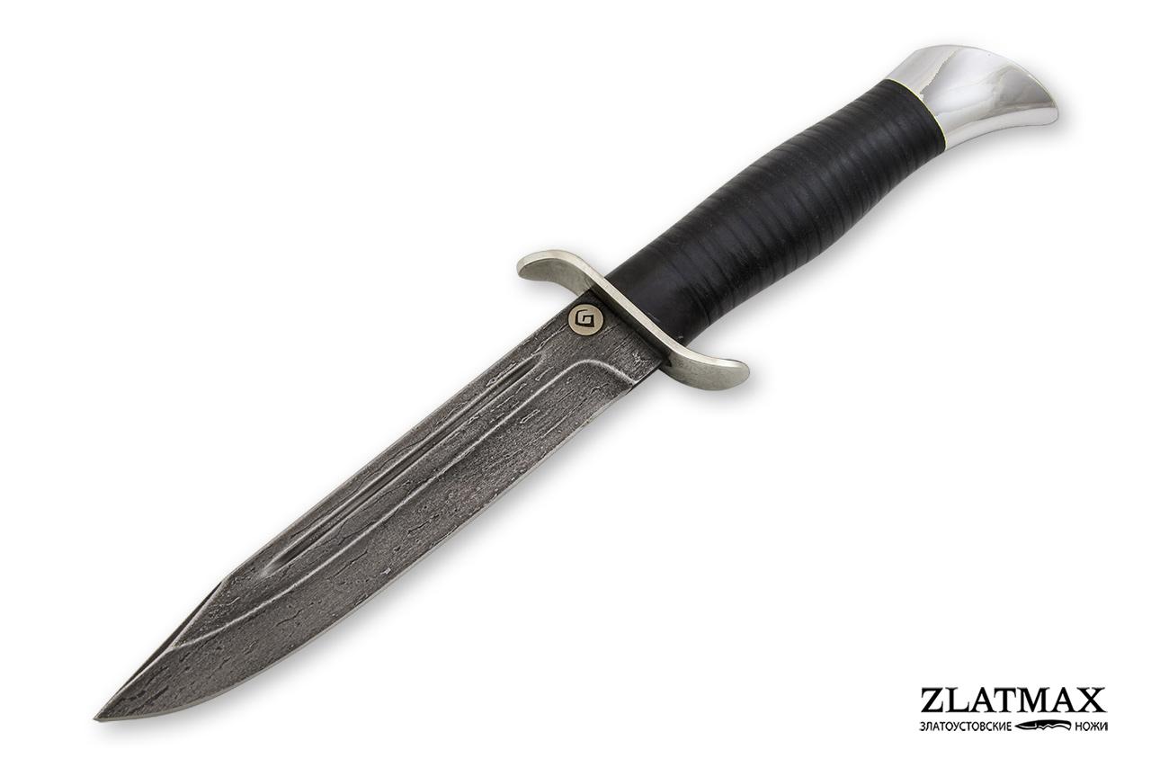 Нож T002(НР-40) (Литой булат, Наборная кожа, Нержавеющая сталь, Алюминий) фото-01