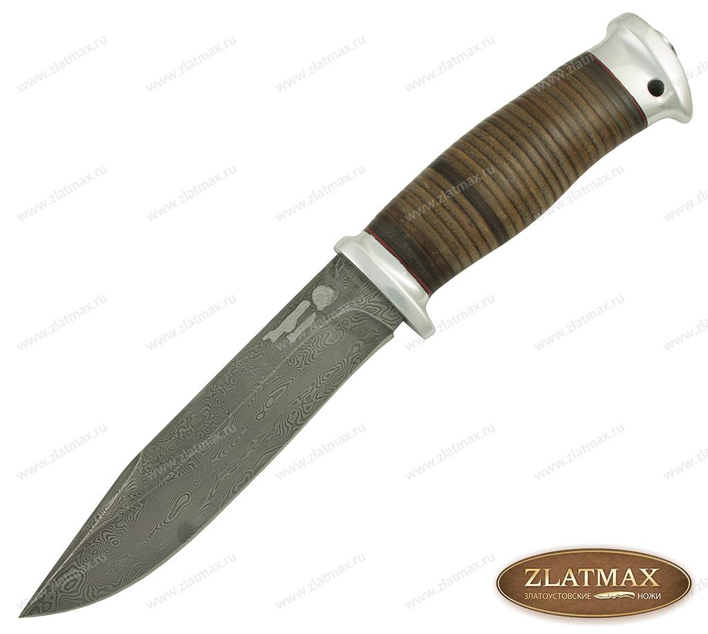 Нож Баджер-2 (Дамаск, Наборная кожа, Алюминий) фото 01