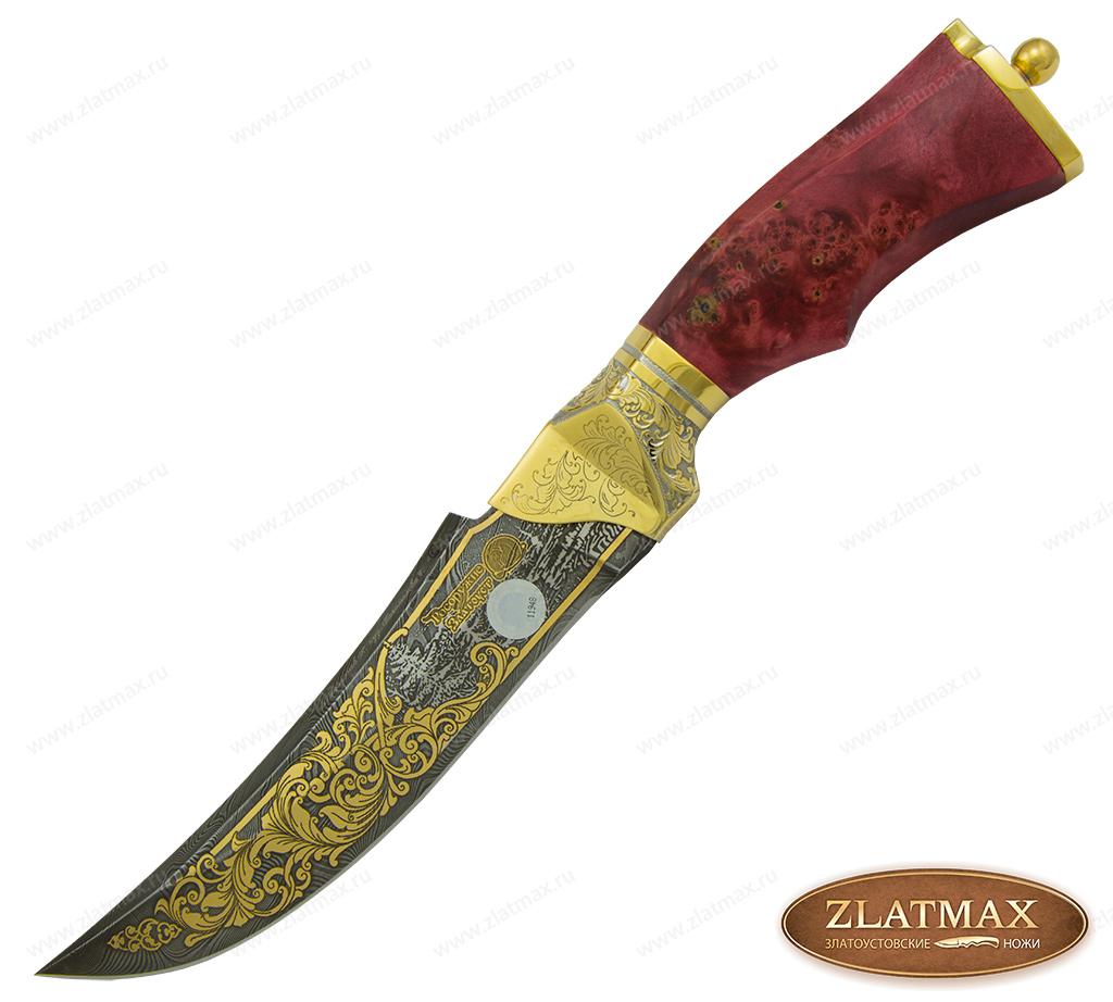 Нож Русский-3 (Дамаск, Стабилизированный кап, Латунь, Золочение клинка гарды и тыльника) фото 01