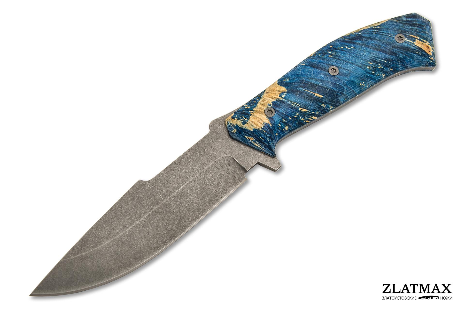 Нож Егерь (K110 Böhler, Накладки стабилизированный кап клёна, Обработка клинка Stonewash) фото-01