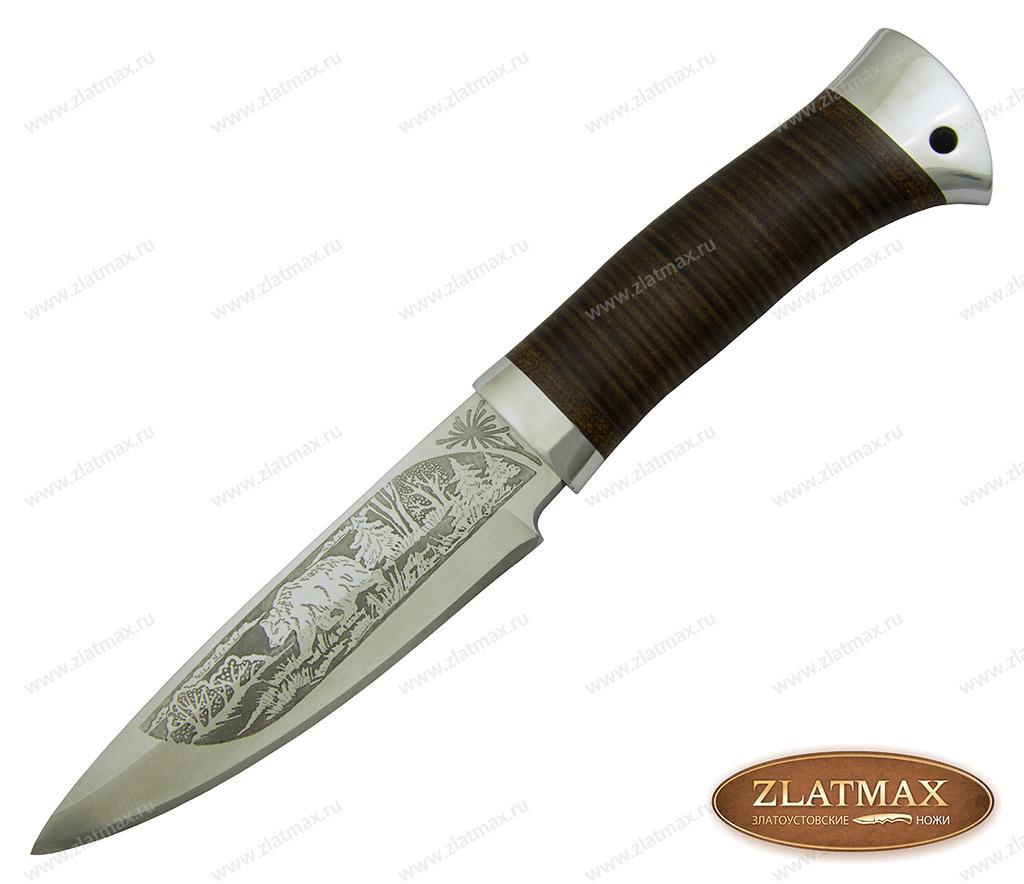 Нож охотничий НС-03 (40Х10С2М, Наборная кожа, Алюминий) фото 01