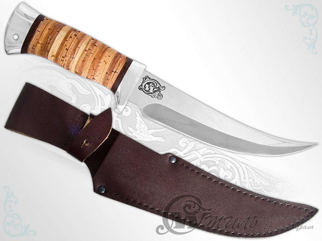 Нож охотничий НС-08 (40Х10С2М, Наборная береста, Алюминий) фото-01