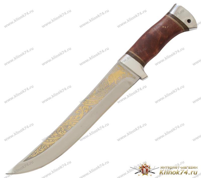 Нож охотничий НС-13 (40Х10С2М, Берёзовый кап, Алюминий, Золочение рисунка на клинке) фото 01