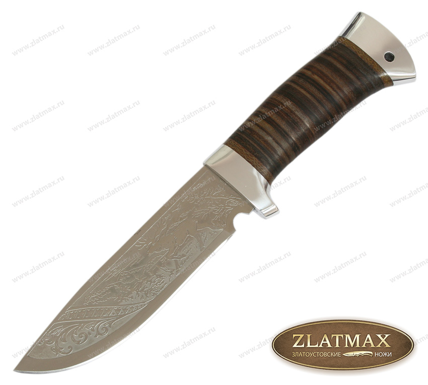 Нож туристический НС-21 (40Х10С2М, Наборная кожа, Алюминий) фото 01