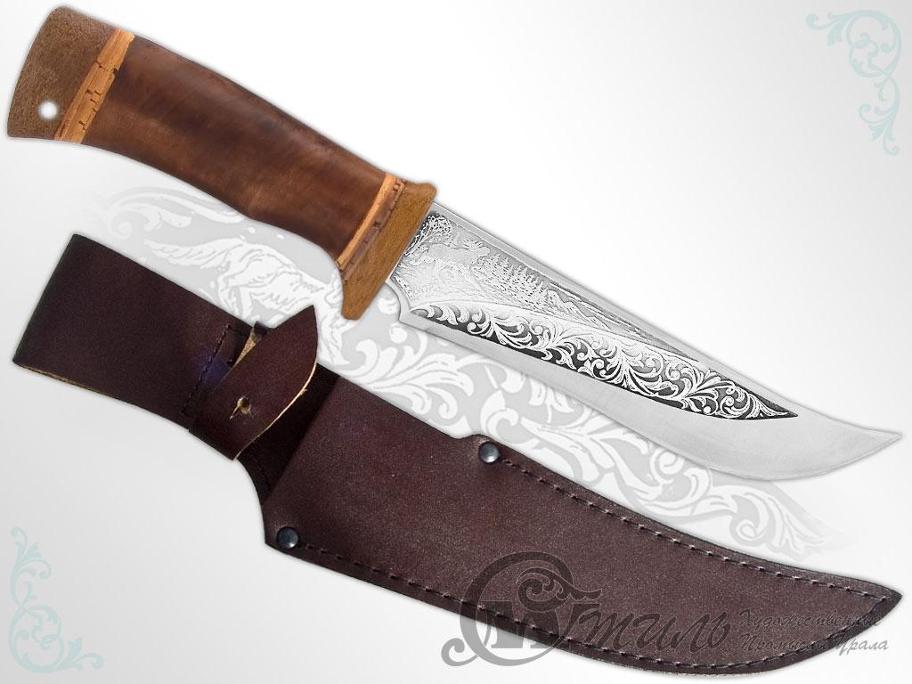 Нож охотничий НС-23 (40Х10С2М, Берёзовый кап, Текстолит) фото 01