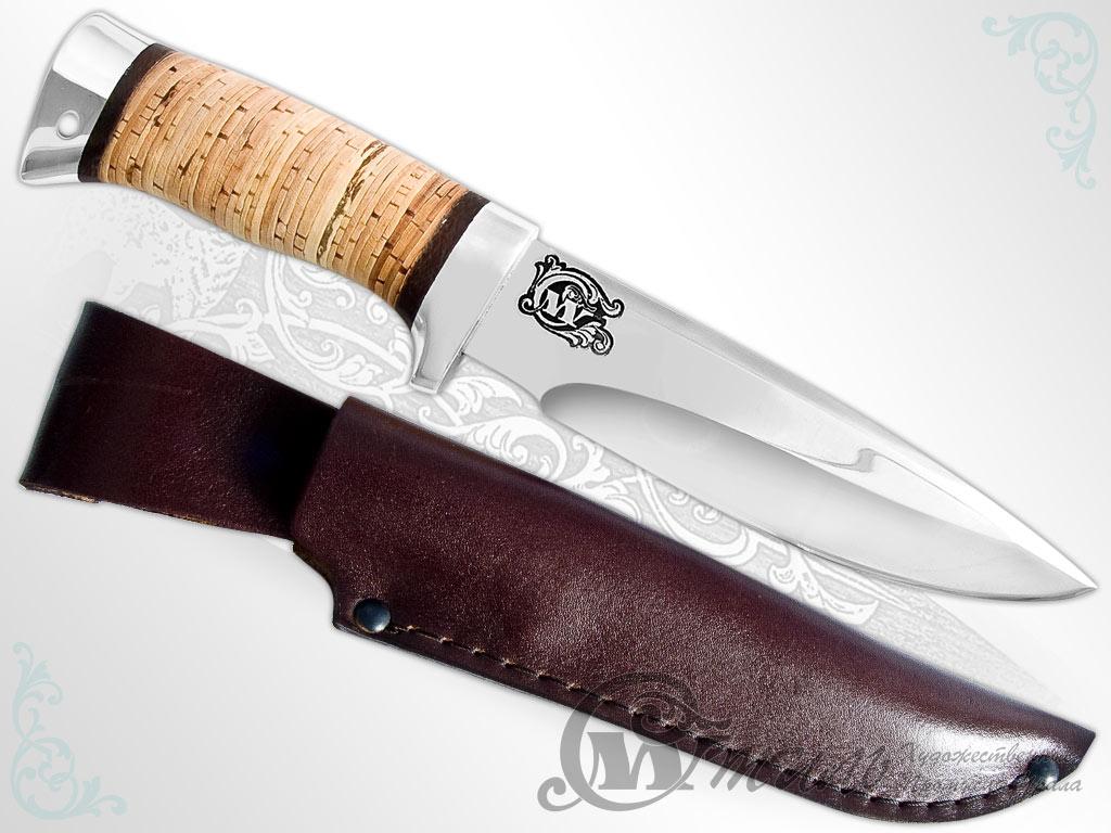 Нож туристический НС-25 (40Х10С2М, Наборная береста, Алюминий) фото-01