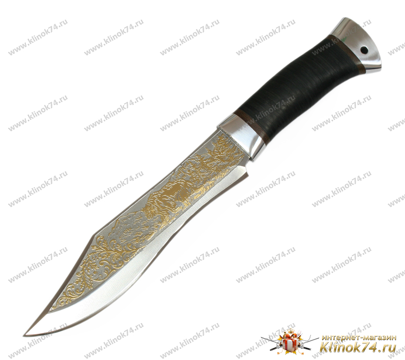 Нож охотничий НС-31 (40Х10С2М, Наборная кожа, Алюминий, Золочение рисунка на клинке) фото-01