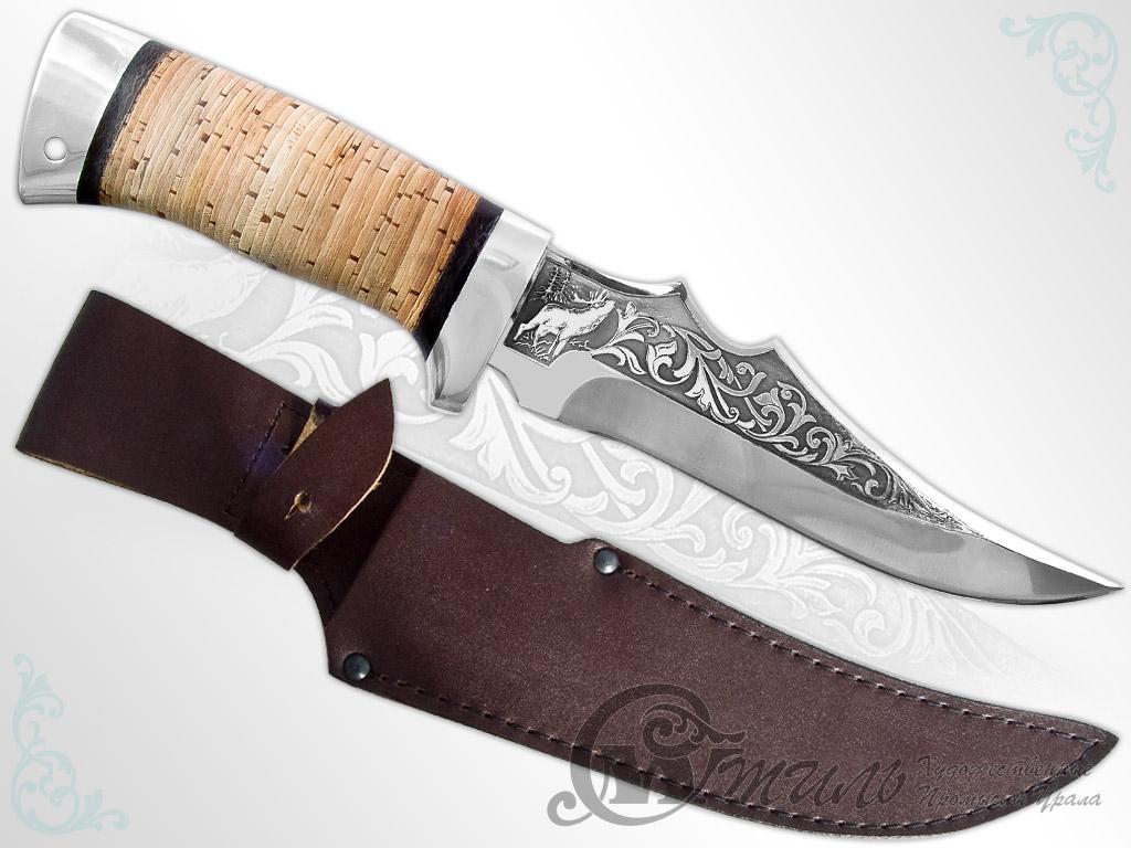 Нож туристический НС-32 (40Х10С2М, Наборная береста, Алюминий) фото-01