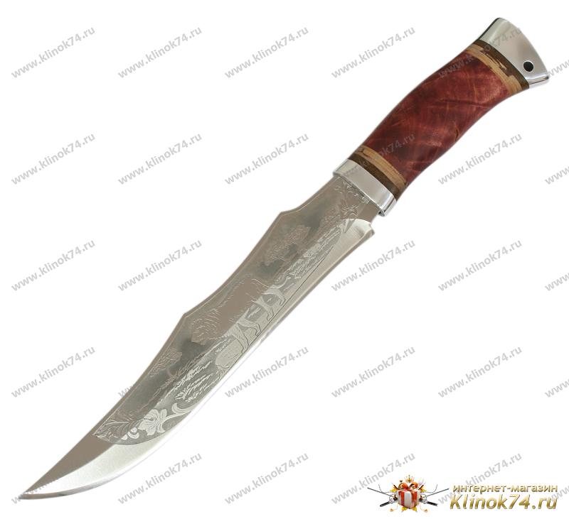 Нож охотничий НС-35 (40Х10С2М, Берёзовый кап, Алюминий) фото-01