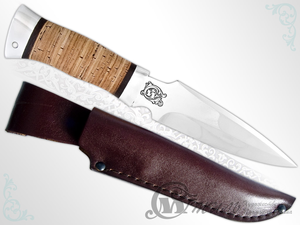 Нож охотничий НС-48 (40Х10С2М, Наборная береста, Алюминий) фото 01