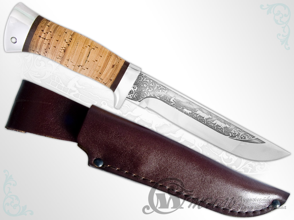 Нож туристический НС-16 (40Х10С2М, Наборная береста, Алюминий) фото-01