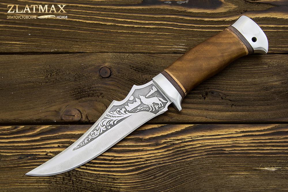 Нож туристический НС-32 (40Х10С2М, Берёзовый кап, Алюминий) фото 01