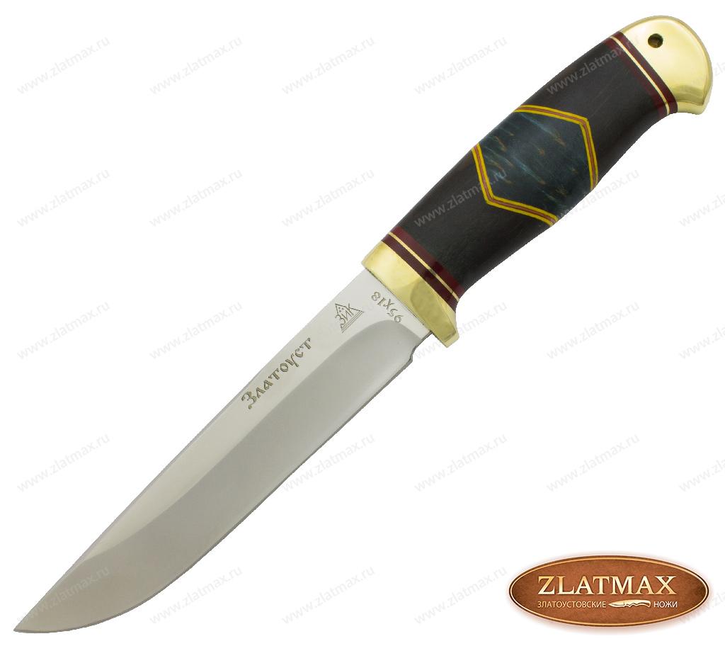 Нож Пустельга Люкс (95Х18, Комбинированная люкс, Латунь) фото 01