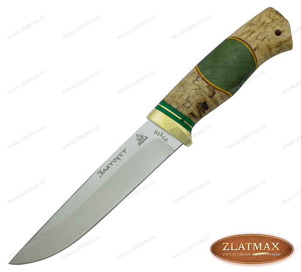 Нож Куница Люкс (95Х18, Комбинированная карельская берёза люкс, Латунь) фото 01