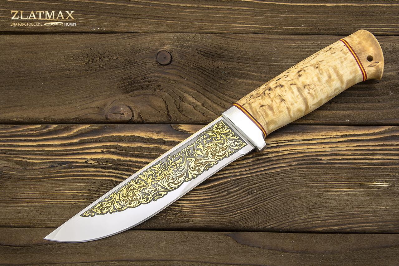 Нож Таежный 2 (95Х18, Карельская берёза, Алюминий, Золочение клинка) фото 01