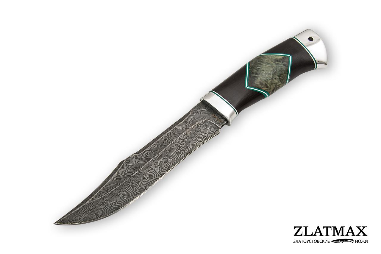 Нож Акела (Дамаск ZDI-1016, Комбинированная люкс, Алюминий) фото-01