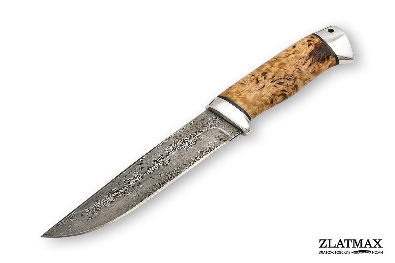 Нож Куница (Дамаск ZDI-1016, Карельская берёза, Алюминий) фото 01